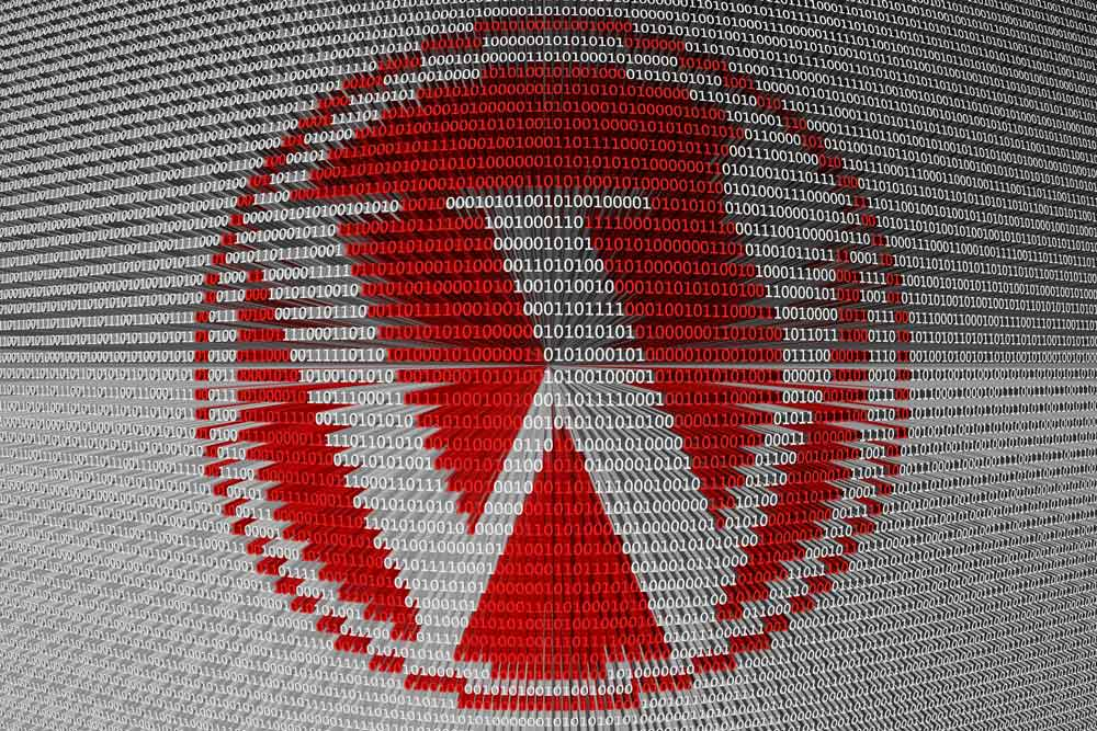 Wordpress logo comprised of red and white binary digits