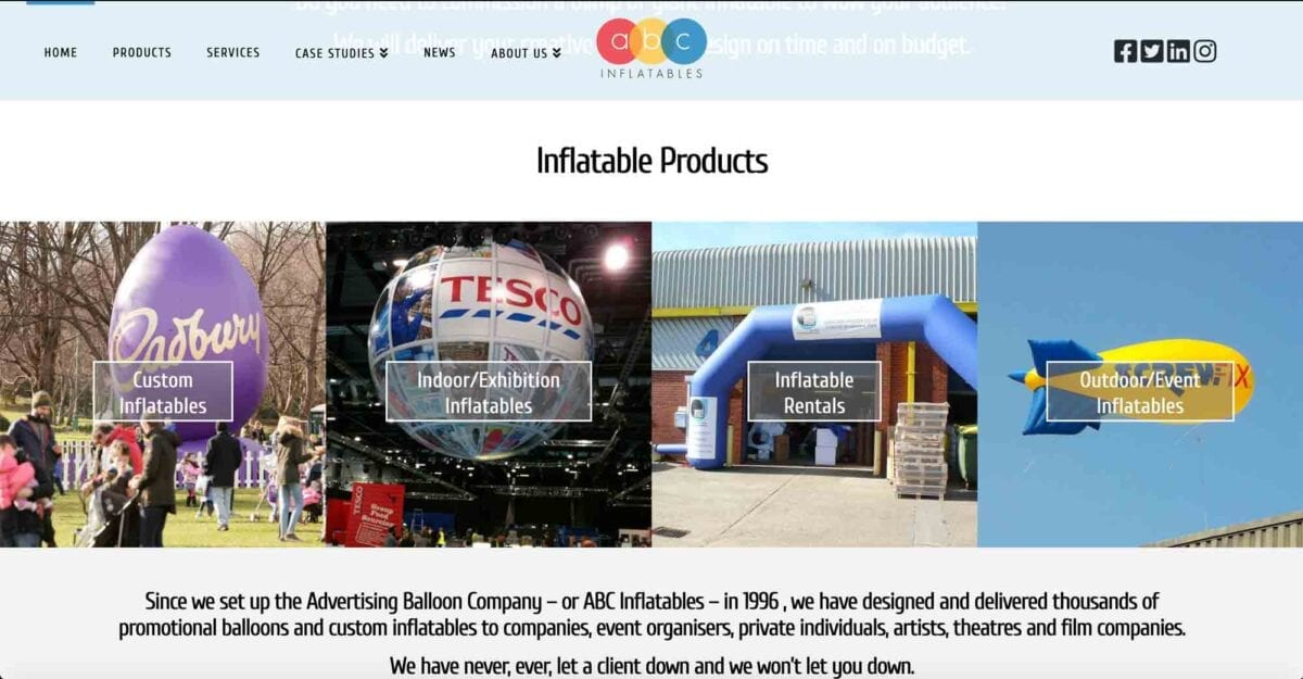 ABC Inflatables - Website Homepage Body Content
