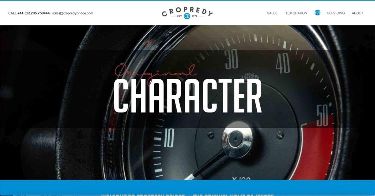 Copredy Bridge Garage website development - car restoration homepage design heading