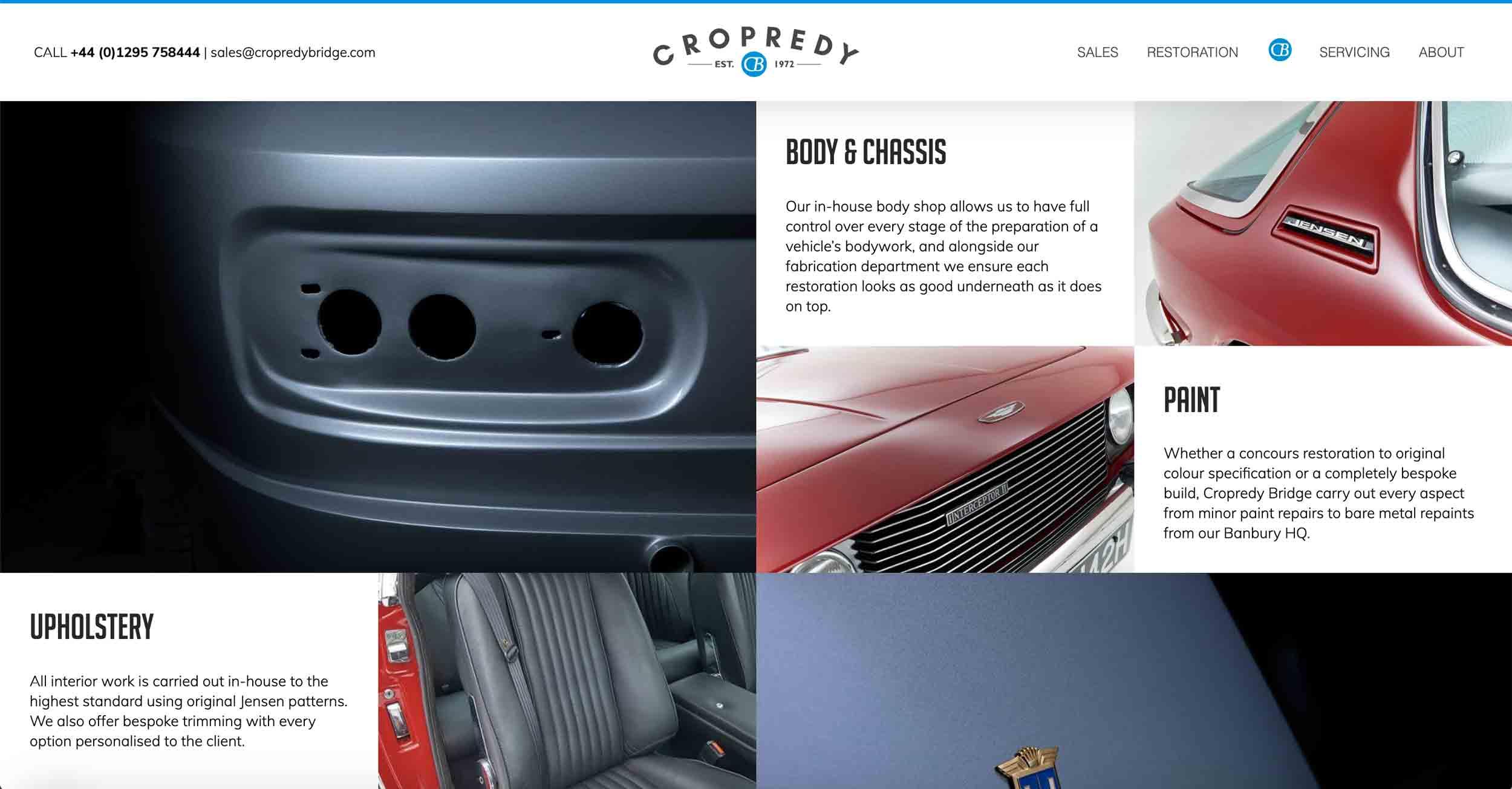 copredy bridge garage website development car restoration page design content