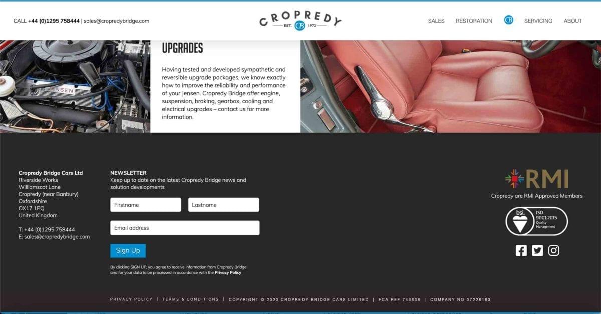 Copredy Bridge Garage website development - car restoration page design footer