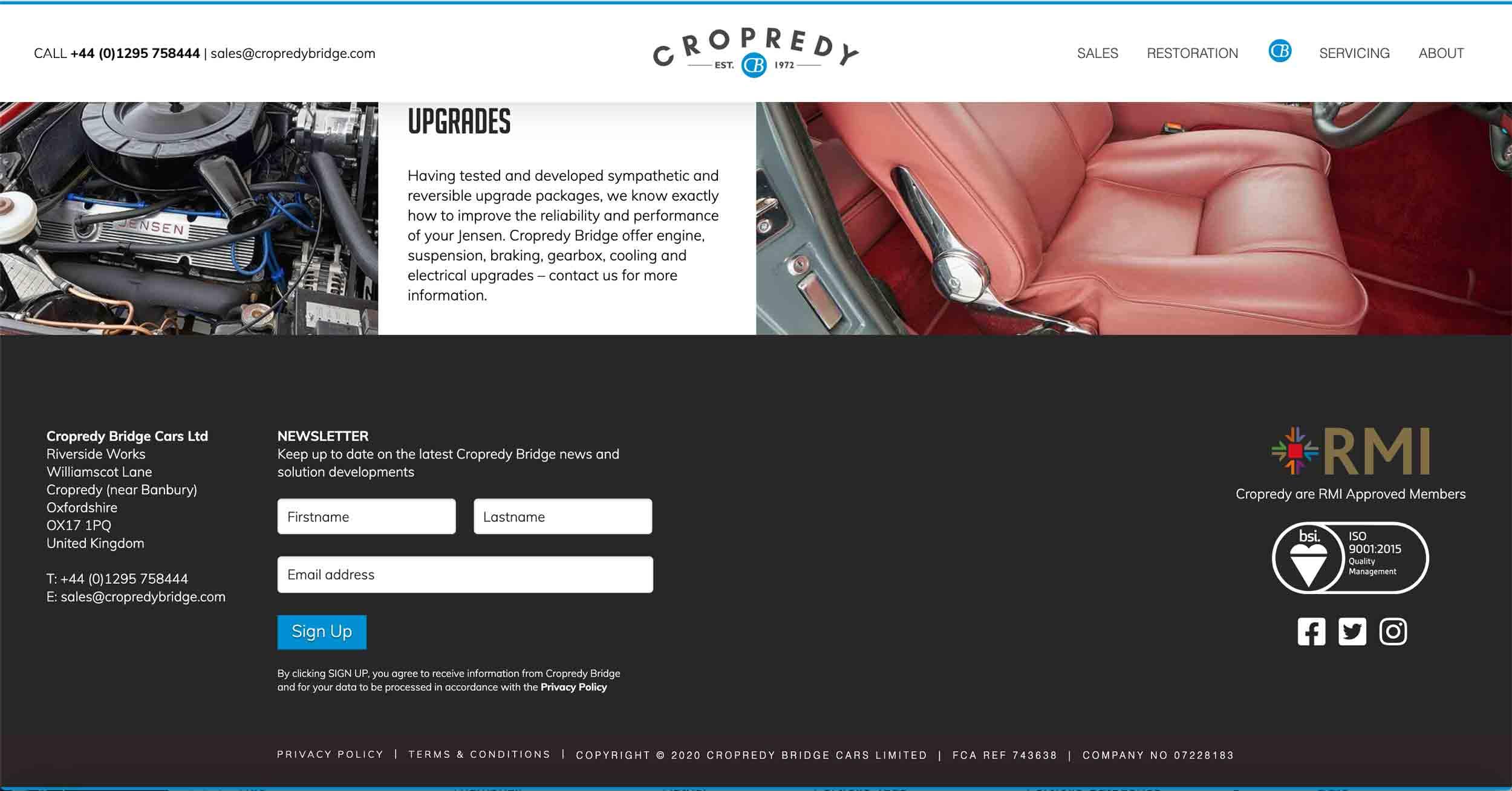 copredy bridge garage website development car restoration page design footer