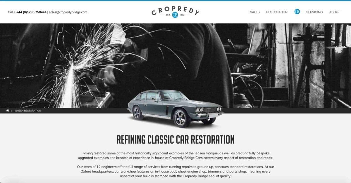 Copredy Bridge Garage website development - car restoration page design header