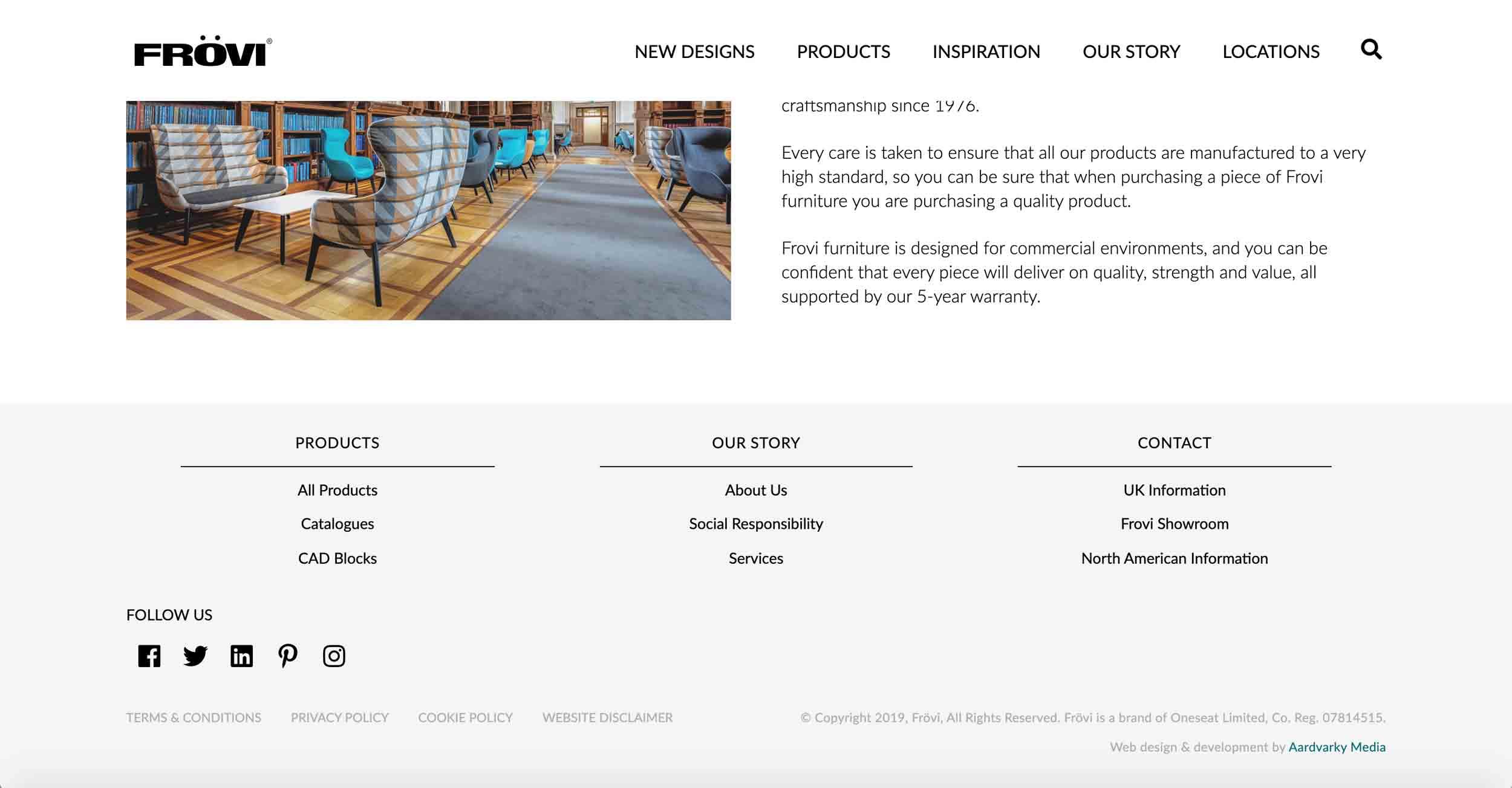 frovi website development homepage footer design