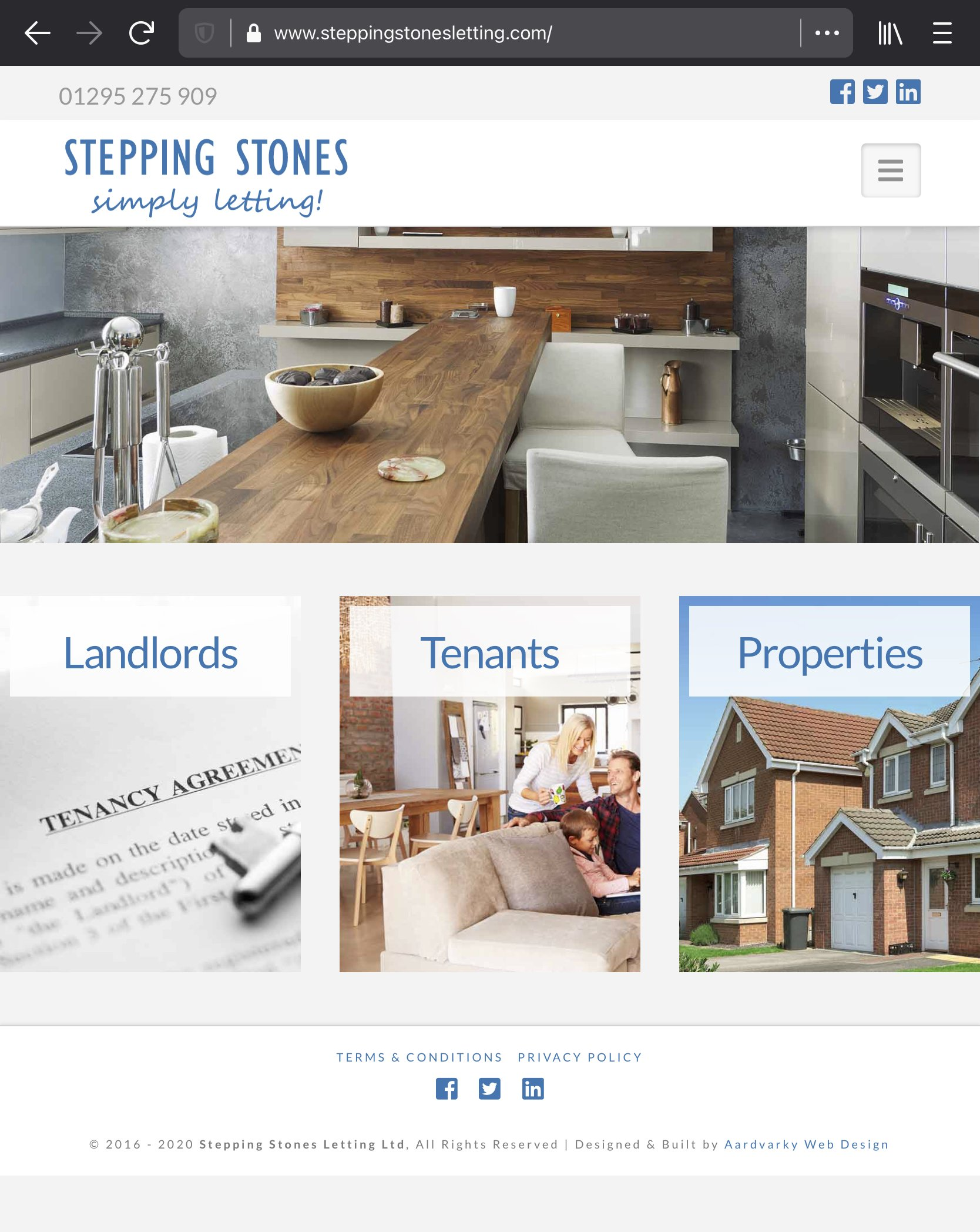 stepping stones website homepage mobile