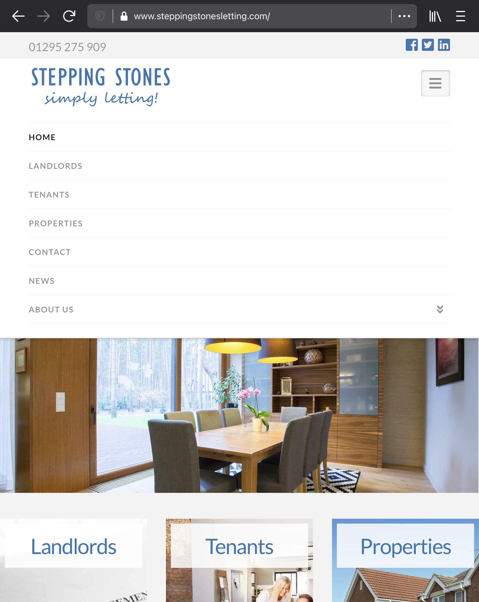 steppingh stones letting website homepage mobile menu