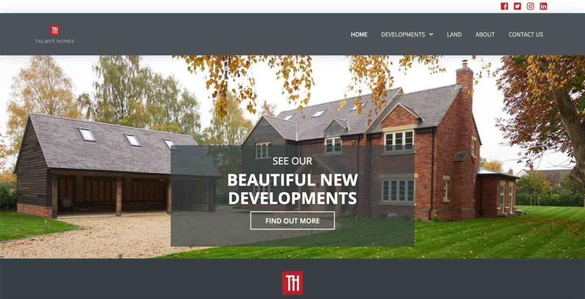 Talbot Homes Website Homepage